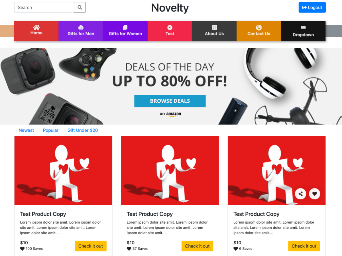 novelty affiliate site builder theme develop